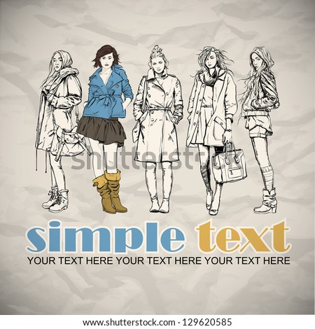 Beautiful poster with fashion girls. Vector illustration. - stock vector