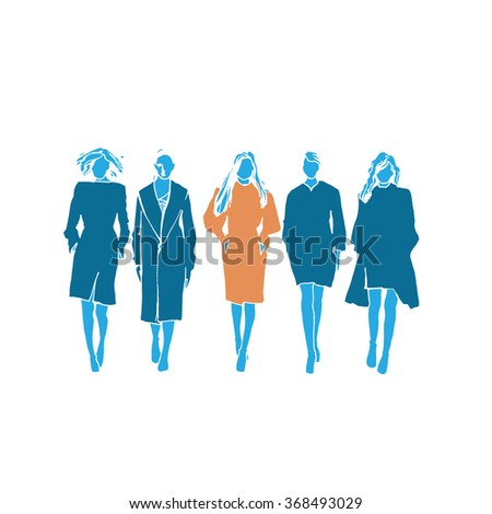 Beautiful poster with fashion girls. Vector illustration. fashion women illustration, fashion girls - stock vector