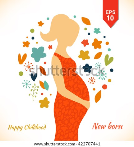 Beautiful pregnant woman in ornate dress. Happy childhood. New born. Cute banner with isolated young mother silhouette - stock vector