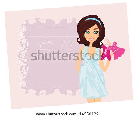 Beautiful pregnant woman on shopping for her new baby - stock vector
