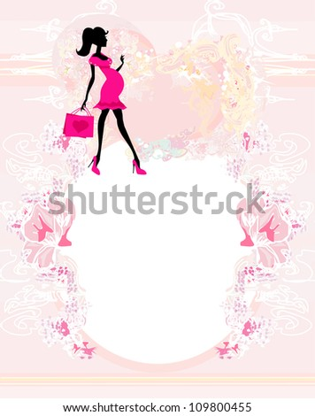 Beautiful pregnant woman on shopping for her new baby- abstract - stock vector
