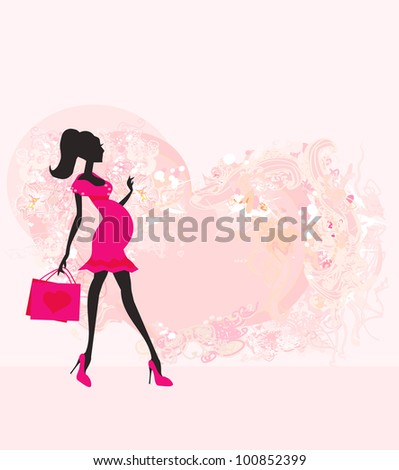 Beautiful pregnant woman on shopping for her new baby- abstract background - stock vector