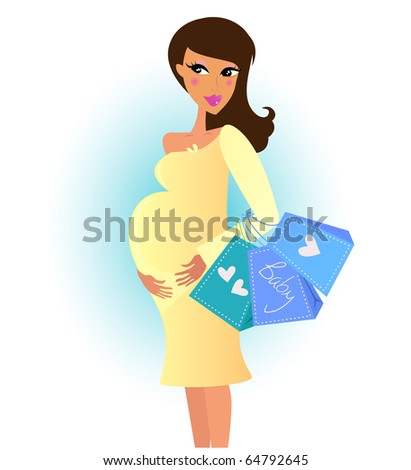 Beautiful pregnant woman on shopping for her new baby. Vector Illustration.