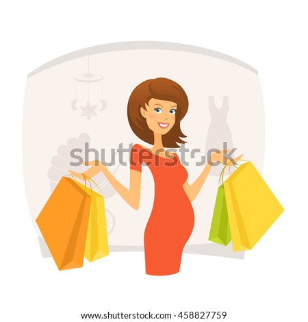 Beautiful pregnant woman with shopping bags in shopping mall - stock vector