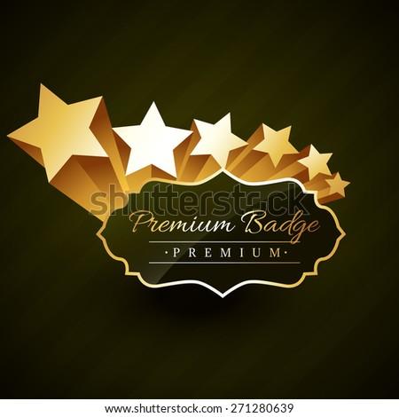 beautiful premium golden badge design with stars vector design - stock vector
