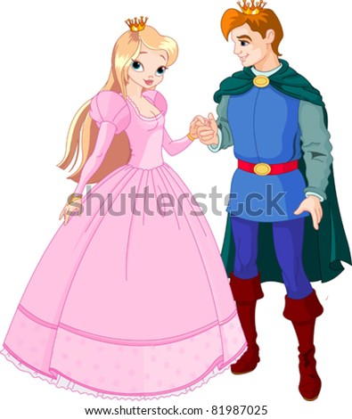 Beautiful prince and princess  with golden crown - stock vector