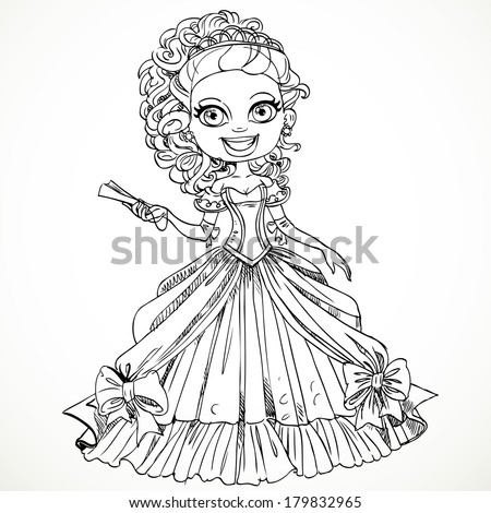 Beautiful princess in a  ball dress with a fan in his hand sketch - stock vector