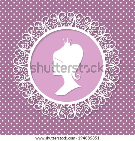 Beautiful princess silhouette in ornate round frame on polka dot background.  - stock vector