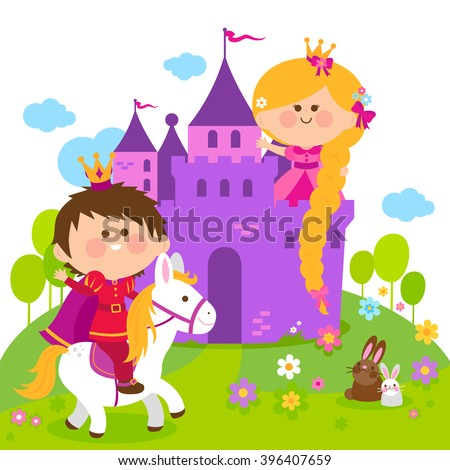 Beautiful princess with long hair at a castle, and a prince riding a horse. - stock vector