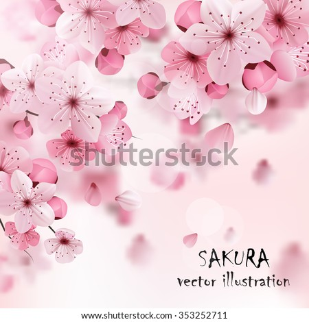 Beautiful print with blossoming dark and light pink sakura flowers and title vector illustration - stock vector