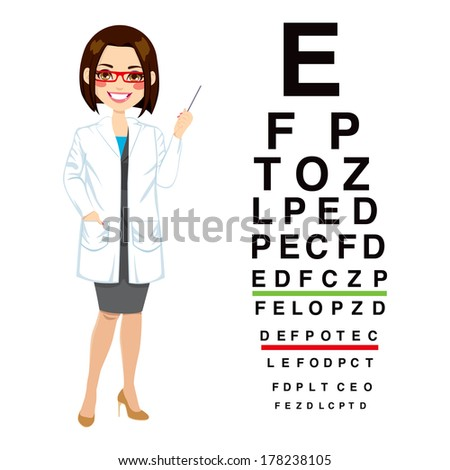 Beautiful professional female optician pointing to snellen chart isolated on white background - stock vector