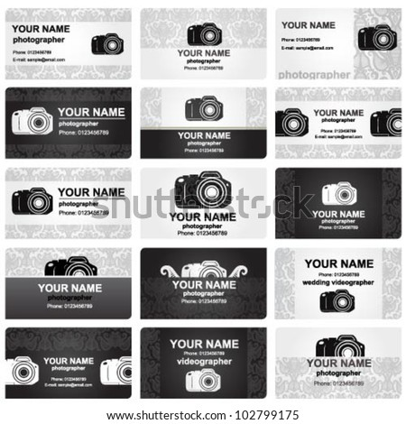 Beautiful professional vector business card set for wedding photographers - stock vector