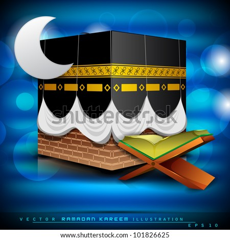 Beautiful Qaaba Sharif of Qaba with holy book Quran and moon on modern abstract blue background. EPS 10. Vector illustration. - stock vector