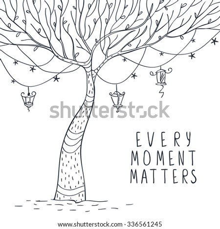 beautiful quick sketch tree with lanterns and stars and sample text. Vector illustration - stock vector