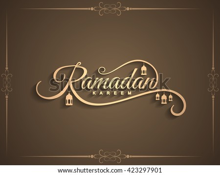 Beautiful Ramadan Kareem text design background - stock vector