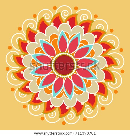 Beautiful Rangoli Design Based On Florals