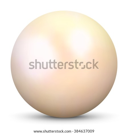 Beautiful Realistic Beige 3D Vector Pearl - Isolated on White Background with Smooth Shadow. 