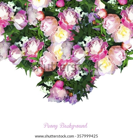 Beautiful realistic floral background, sweet pink flowers peonies for happiness, femininity, beauty, t-shirt print, fashion, Saint Valentine card, wedding card