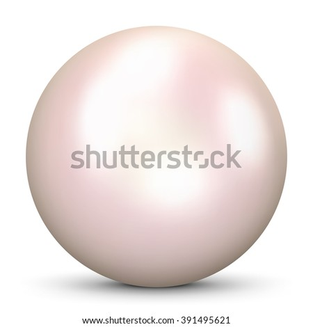 Beautiful Realistic Pink Colored 3D Vector Pearl - Isolated on White Background with Smooth Shadow. Cultured Bright Oyster Pearl with Cream Colored Glossy Surface. - stock vector