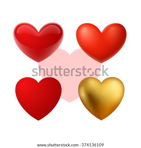 Beautiful realistic vector hearts illustrations. Red, glass, glossy, mat and gold. - stock vector