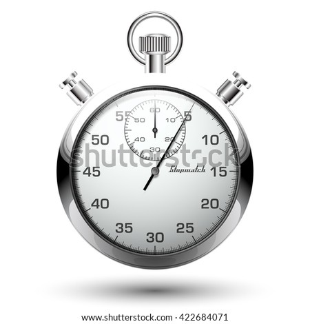 Beautiful realistic vector illustration of shiny chrome stopwatch isolated on white background - stock vector