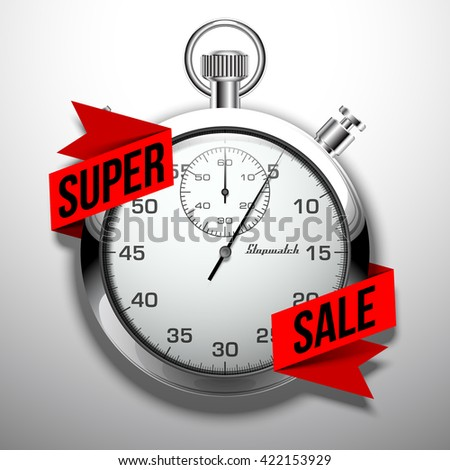 Beautiful realistic vector illustration of shiny chrome stopwatch isolated on white background. an inscription on a flat red paper tape: super sale - stock vector