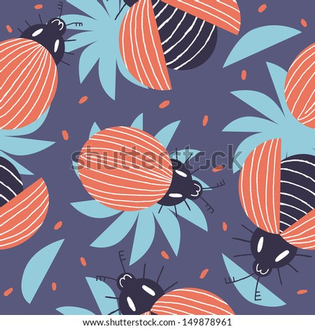Beautiful red beetles with blue flowers. Vector seamless pattern - stock vector