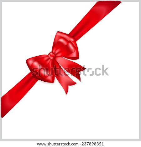 Beautiful red bow with diagonally ribbon - stock vector