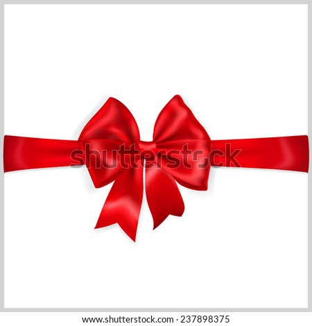 Beautiful red bow with horizontal ribbon
