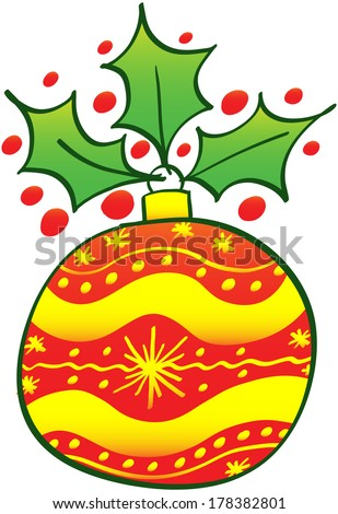 Beautiful red Christmas ball decorated with yellow waves and stars and showing an evergreen holly at top - stock vector