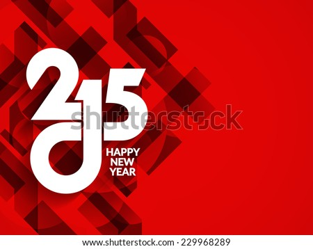 Beautiful red color modern happy new year 2015 background design. - stock vector