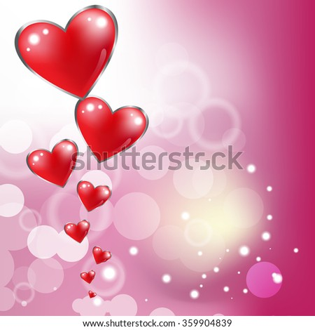 Beautiful red glossy heart for valentines day background. - stock vector