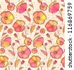 Beautiful red, orange and yellow flowers vector pattern - stock vector