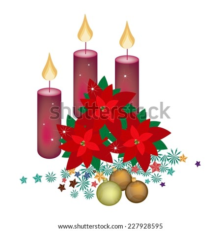 Beautiful Red Poinsettia Plants with Three Christmas Candles and Christmas Ball or Bauble and Christmas Ornament, Sign for Christmas Celebration.   - stock vector