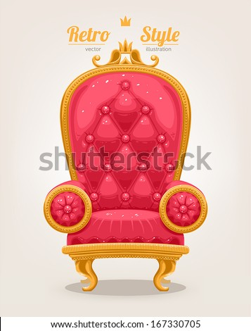 beautiful retro pink armchair with gold trim  - stock vector