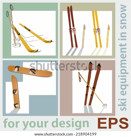 Beautiful retro set for your design, ski old equipment in the snow - stock vector