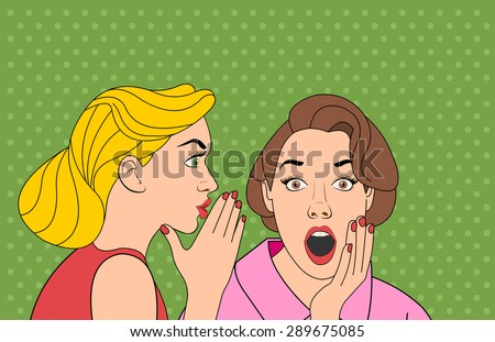 Beautiful retro woman whispering a gossip to her surprised friend. Vintage art. - stock vector