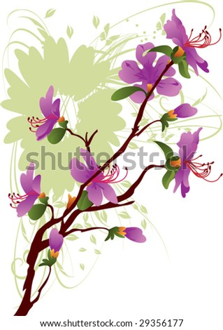 beautiful rhododendron dauricum, background, border, branches - stock vector