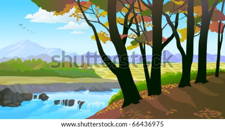 Beautiful riverside  trees and field view - stock vector