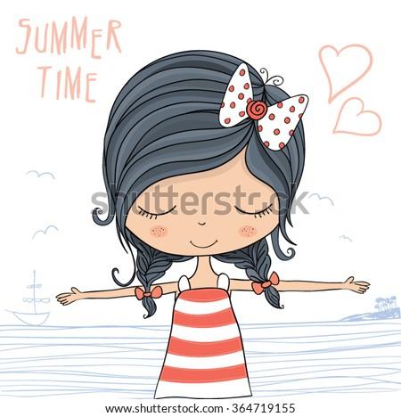 Beautiful romantic girl/cute girl/T-shirt Graphics/girl vector/girl pattern/girl graphic/girl illustration/Fashion girl/postcards girl/sea-themed illustrations/character design/pretty girl/Sweet girl - stock vector