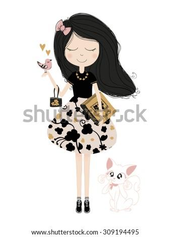 Beautiful romantic girl/cute girl/T-shirt Graphics/illustration princess girl/Vector Cute beautiful fashionable girl/design for children's books/french girl/girl vector/cat vector/bird vector - stock vector