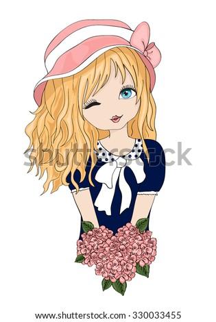 Beautiful romantic girl/cute girl/T-shirt Graphics/illustration princess girl/Vector Cute beautiful fashionable girl/design for children's books/girl vector/adolescent girl/romantic girl - stock vector