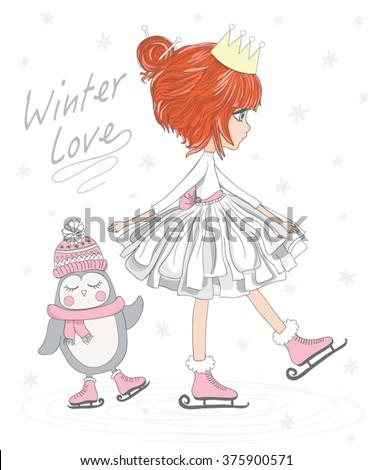Beautiful romantic girl/cute girl/T-shirt Graphics/illustration princess girl/Vector Cute beautiful fashionable girl/girl vector/adolescent girl/romantic girl/Penguin vector/animal lover/girl poster - stock vector