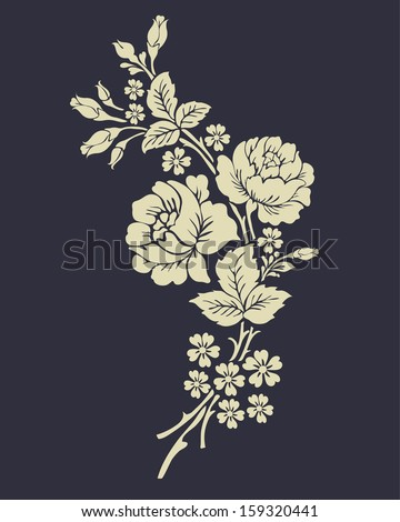 Beautiful rose flowers on the dark background. - stock vector