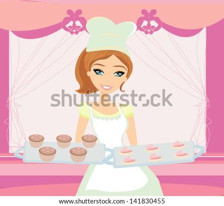 beautiful saleswoman in a bakery - stock vector