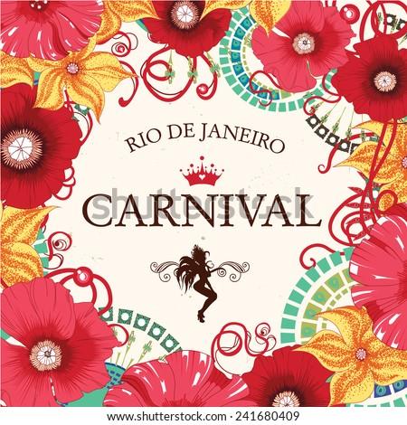 Beautiful samba dancer and flowers invitation design . Eps 10. - stock vector