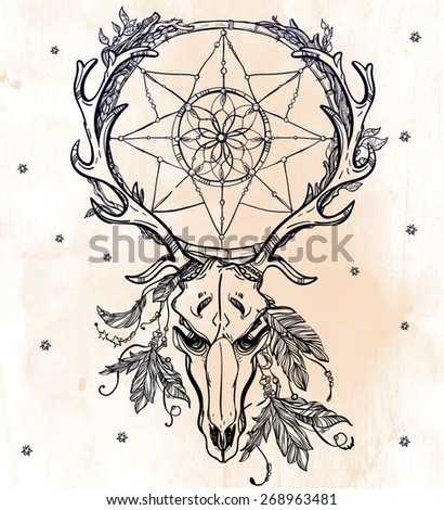 Beautiful scull tattoo line art. Vintage deer, bull, elk, horns. Antlers with branches, leaves ornate dream catcher with stars feathers. Hand drawn. Vector illustration. Isolated. Ink on aged paper.  - stock vector