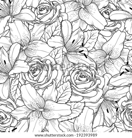 Beautiful seamless background with black and white lily and roses . Hand-drawn contour lines and strokes. Perfect background greeting card and invitations to the day wedding, birthday, Valentine's Day - stock vector