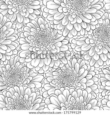 Beautiful seamless background with monochrome black and white flowers. Hand-drawn contour lines and strokes. - stock vector