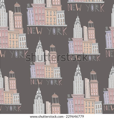 Beautiful seamless Background with New York City - stock vector